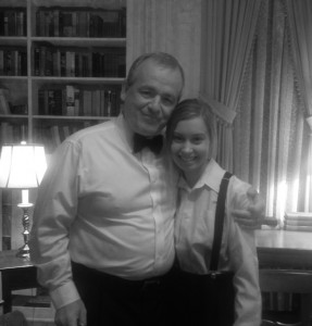 """With one of my acting coaches, Greg Wilson, on the set of """"Old Chicago Souls""""."""